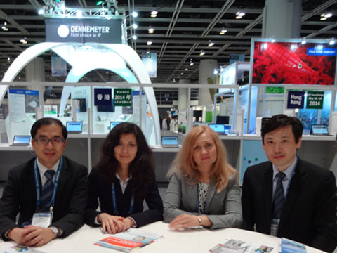 Alex SW Ho (ALEX HO & CO), Ms. Vitaliya Sinitsyna, Ms. Victoria Soldatova (IPR GROUP), Mr. Thomas P. H. CHAN (Lily Fenn & Partners) at the hospitality area of INTA Annual Meeting