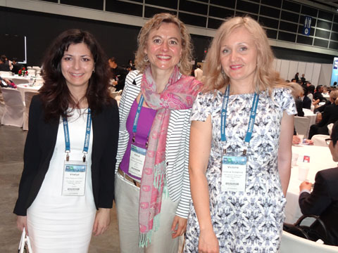 Ms. Vitaliya Sinitsyna (IPR Group), Ms. Almut Bühling (BSB - INTELLECTUAL PROPERTY LAW), Ms. Victoria Soldatova (IPR GROUP) at the hospitality area of INTA Annual Meeting