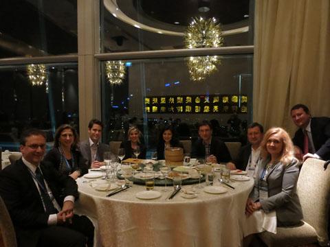 Dr. Patrick Baronikians (HOFSTETTER, SCHURACK & PARTNER), Ms. Delphine Brunet-Stoclet (SBKG & Associates), Mr. Jerome Pernet (TRADAMARCA), Ms. Nina Wittich (HOFSTETTER, SCHURACK & PARTNER), Ms. Vitaliya Sinitsyna (IPR GROUP), Mr. Kirill Kistersky (IPR GROUP), Dr. Alfons Hofstetter (HOFSTETTER, SCHURACK & PARTNER), Mr. Jon A. Birmingham (FITCH EVEN), Ms. Victoria Soldatova (IPR GROUP) at the dinner of Hofstetter, Schurack & Partner.
